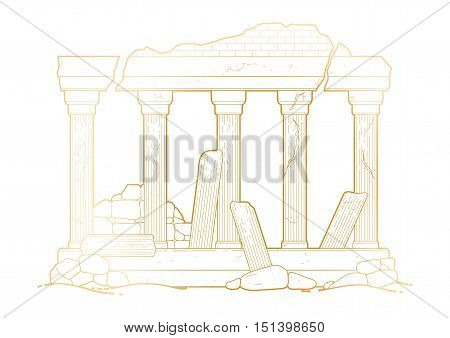 Graphic half-ruined architecture with column in line art style. Ancient building isolated on the white background in goledn colors.