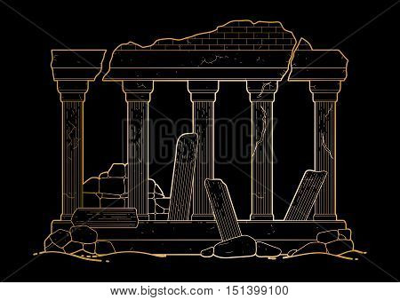 Graphic half-ruined architecture with column in line art style. Ancient building isolated on the black background in golden colors.
