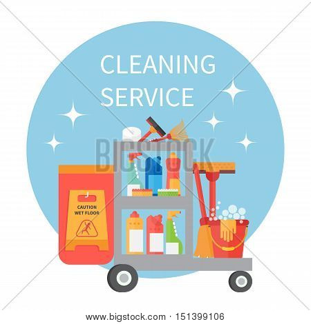 Cleaning service trolley. Cleaning supplies and household equipment tools. Cleaning vector icons set