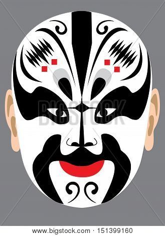 Chinese peking opera mask on grey background
