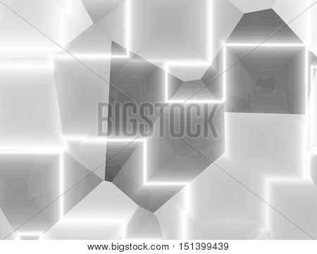 Abstract futuristic lighting shapes and cubes background