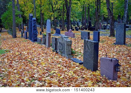 Tombstones on autumn cemetery. Colorful leaves on the ground.