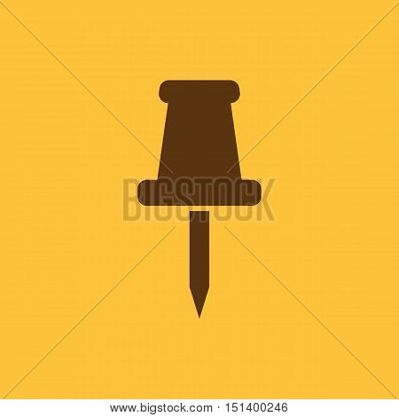 The push pin icon. Memo and note, attachment symbol. Flat Vector illustration