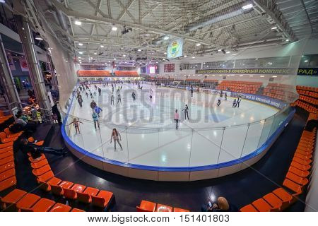 MOSCOW, RUSSIA - FEB 06, 2016: wide-angle view of ice rink hockey complex GRAD with skating people