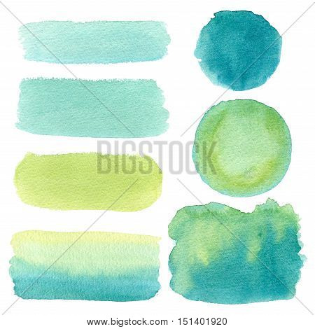 Hand drawn green watercolor abstract texture. Raster background.