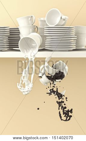cracked cup of coffee falling from shelves on bright yellow background 3D illustration