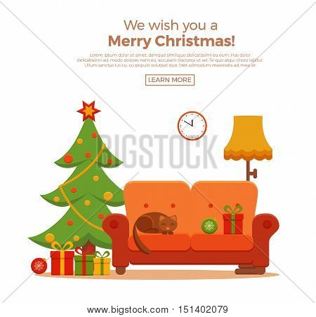 Christmas room interior in colorful cartoon flat style. Christmas tree, gifts, decoration, sofa, cat,  clock, floor lamp.   Cozy noel xmas night celebration interior vector illustration.