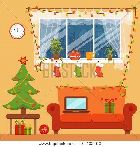 Christmas room interior in colorful cartoon flat style. Christmas tree, gifts, decoration, sofa, window,  laptop.   Cozy noel xmas night celebration interior vector illustration.