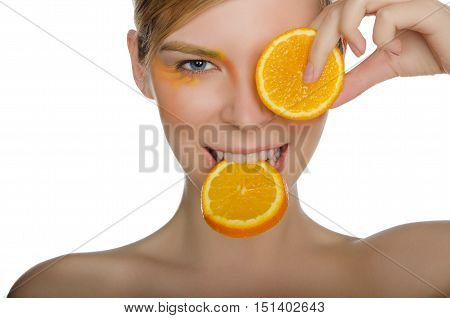 beautiful woman with orange isolated on white