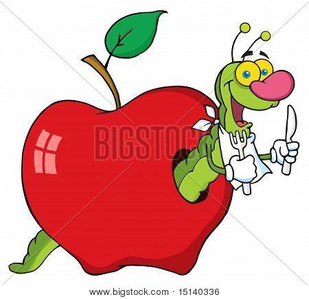 Gusano feliz de dibujos animados en Apple