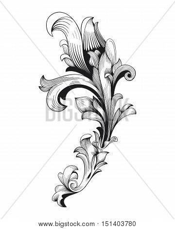 Vintage baroque frame scroll ornament engraving border floral retro pattern antique style acanthus foliage swirl decorative design element filigree calligraphy vector damask