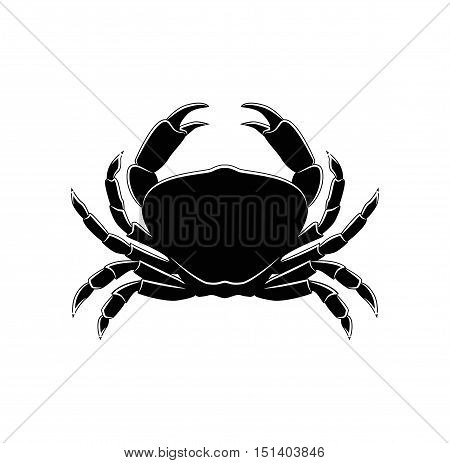 The Silhouette Of A Crab. Vector Illustration. Isolated On White BAckground