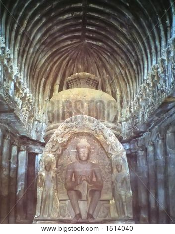Detail Of An Indian Sculture, Ellora Caves, India