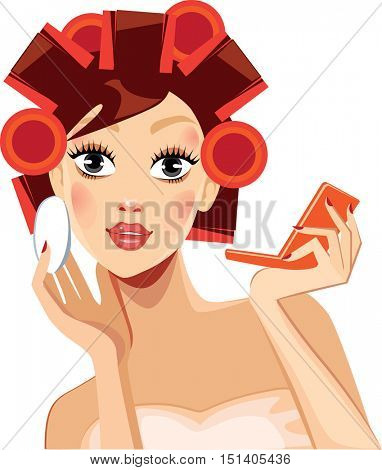 beauty face girl with hair rollers, face woman, curlers rollers in hair, makeup