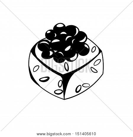 Sushi roll with caviar, japanese food, cartoon style icon. Asian food. Vector sushi with caviar. Hand draw style restaurant delicious. Isolated on white background