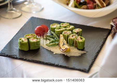 Fish Platter.  Snacks On A White Background