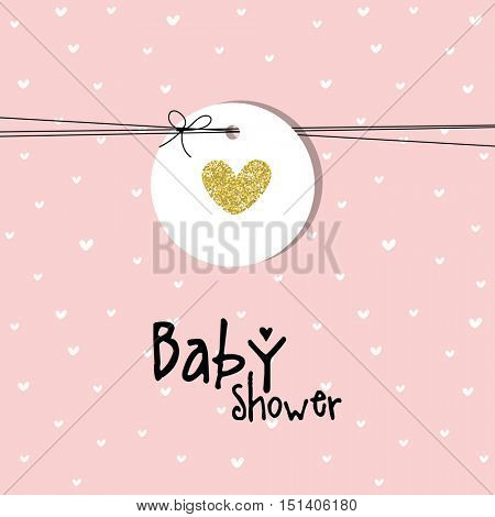 Baby shower card. Golden heart. Design element.