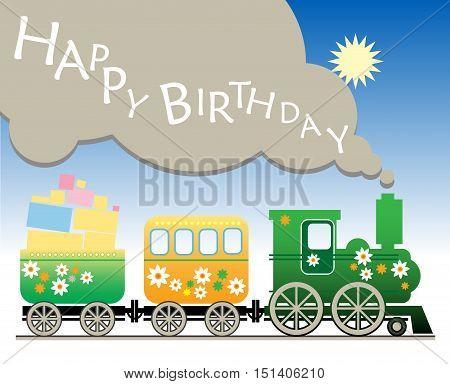 Happy birthday color cartoon train vector illustration