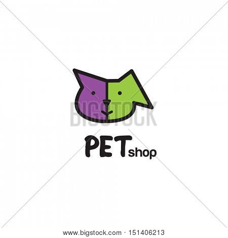 Pet shop logo design - symbol. Stylized modern design element. Cat and dog. For pet shop.