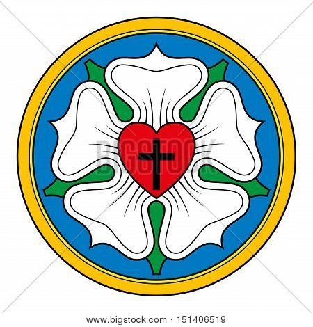 Luther rose, also Luther seal, symbol of Lutheranism, used by Martin Luther as an expression of his theology. Black cross in a heart for Holy Trinity, a white rose in sky blue field and golden ring.