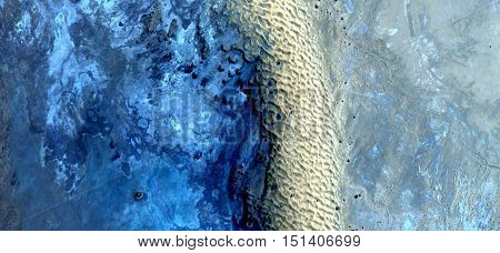border dunes,abstract landscapes of deserts,abstract photography deserts of Africa from the air, mirage in Sahara,  fantasy forms of sand in the desert