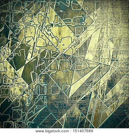 Geometric vintage style background with ancient grunge elements. Aged texture with different color patterns: yellow (beige); brown; gray; green; blue