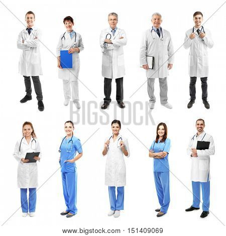 Different medical staff on white background.