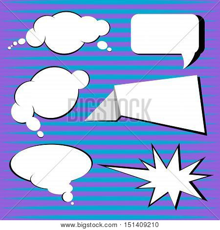 Pop art vector speech bubbles clouds and oval. Shape explosion with jagged edges.