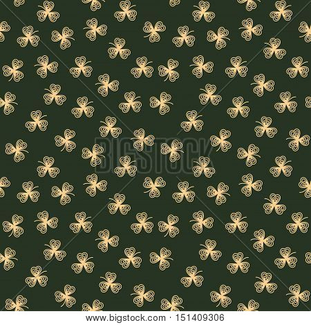 Cute funny seamless background pattern with golden contour clover leaves isolated on the green fond. Vector illustration eps
