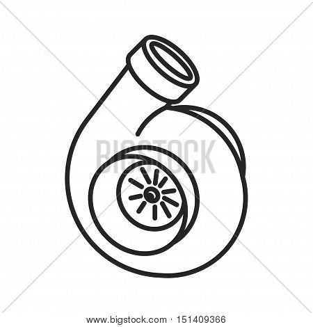Turbo icon. Turbocharger sign. Vehicle performance forced aspiration symbol. Thin line icon on white background. Vector illustration. Ready for your design.