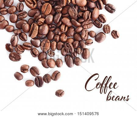 Roasted coffee beans on white background. Text COFFEE BEANS.