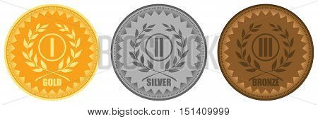 Gold silver and bronze medals vector illustration