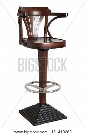 wooden bar stool with cast iron base isolated on white background