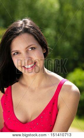 Brunette woman in summer