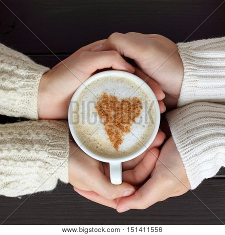 frothy coffee with drawing heart hands hug love people couple / share feelings together