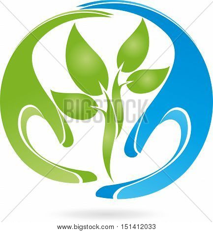 Two hands and plant, leaves, naturopath and nature logo