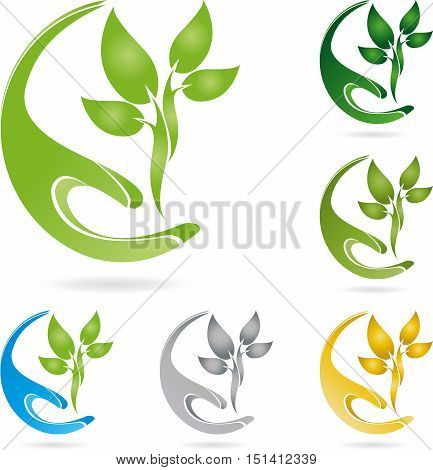Hand and plant, leaves, naturopath and natural logo