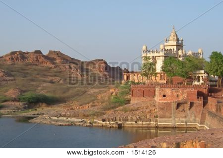 Indian Temple Near A Lac With Mountains, Jodhpur, India