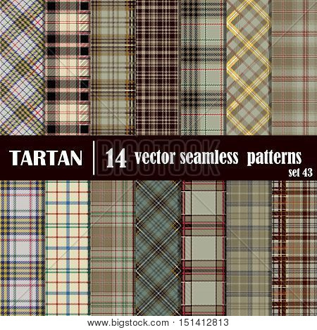Set tartan seamless pattern in beige and gray colors. Lumberjack flannel shirt inspired. Seamless tartan tiles. Trendy hipster style backgrounds. Suitable for decorative paper fashion design home and handmade crafts.