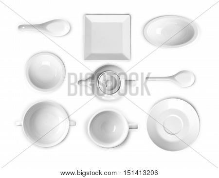 collection of white kitchen ware . isolated on a white background
