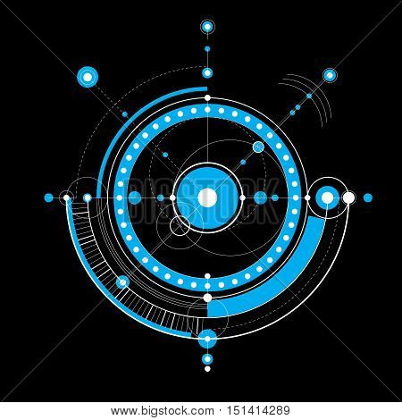 Vector engineering technological background futuristic technical plan mechanism. Mechanical scheme blue abstract industrial design can be used as website background.