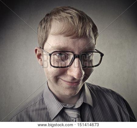 Smiling nerd man