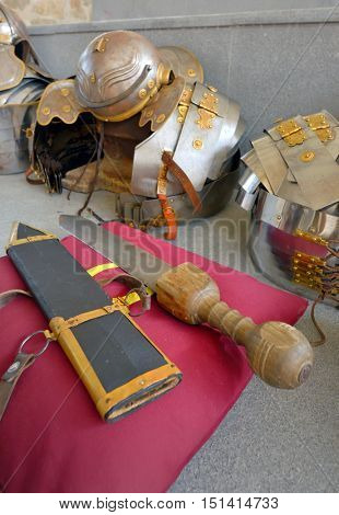 Ancient roman military sword and armour