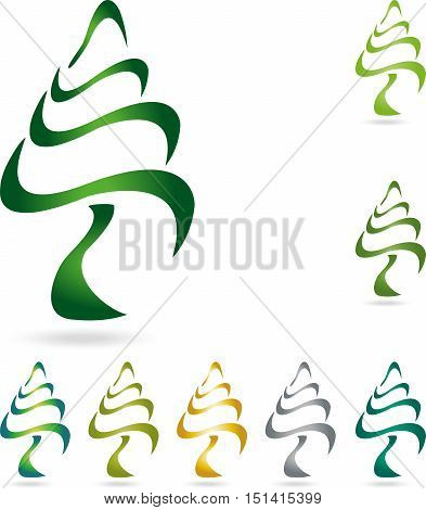 Plant, tree, fir, tree in green logo
