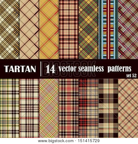 Set tartan seamless pattern in motley colors.Trendy Vector Illustration for Wallpapers. Seamless Tartan Tiles. Suits for Decorative Paper, Fashion Design and House Interior Design, as Well as for Hand Crafts