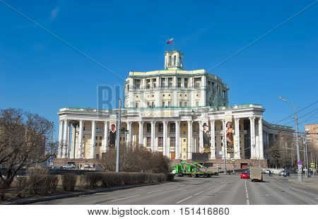 MOSCOW, RUSSIA - MARCH 28, 2016: View on building Central Academic Theatre of the Russian Army built in 1929 Suvorovskaya square Building 2 landmark