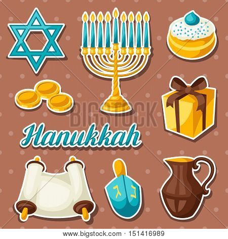 Set of Jewish Hanukkah celebration sticker objects and icons.