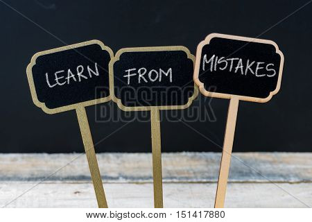 Motivational Message Learn From Mistakes Written With Chalk