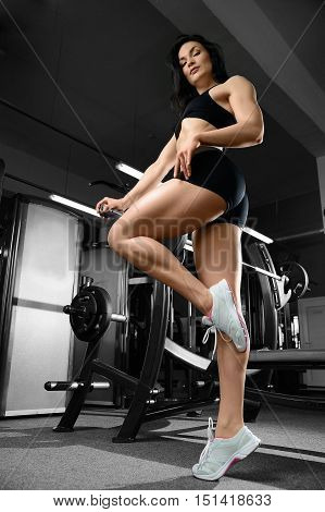 Sexy Woman Doing Exercises In Gym