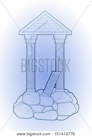Graphic half-ruined architecture with column in line art style. Ancient building isolated on the white background in blue colors.